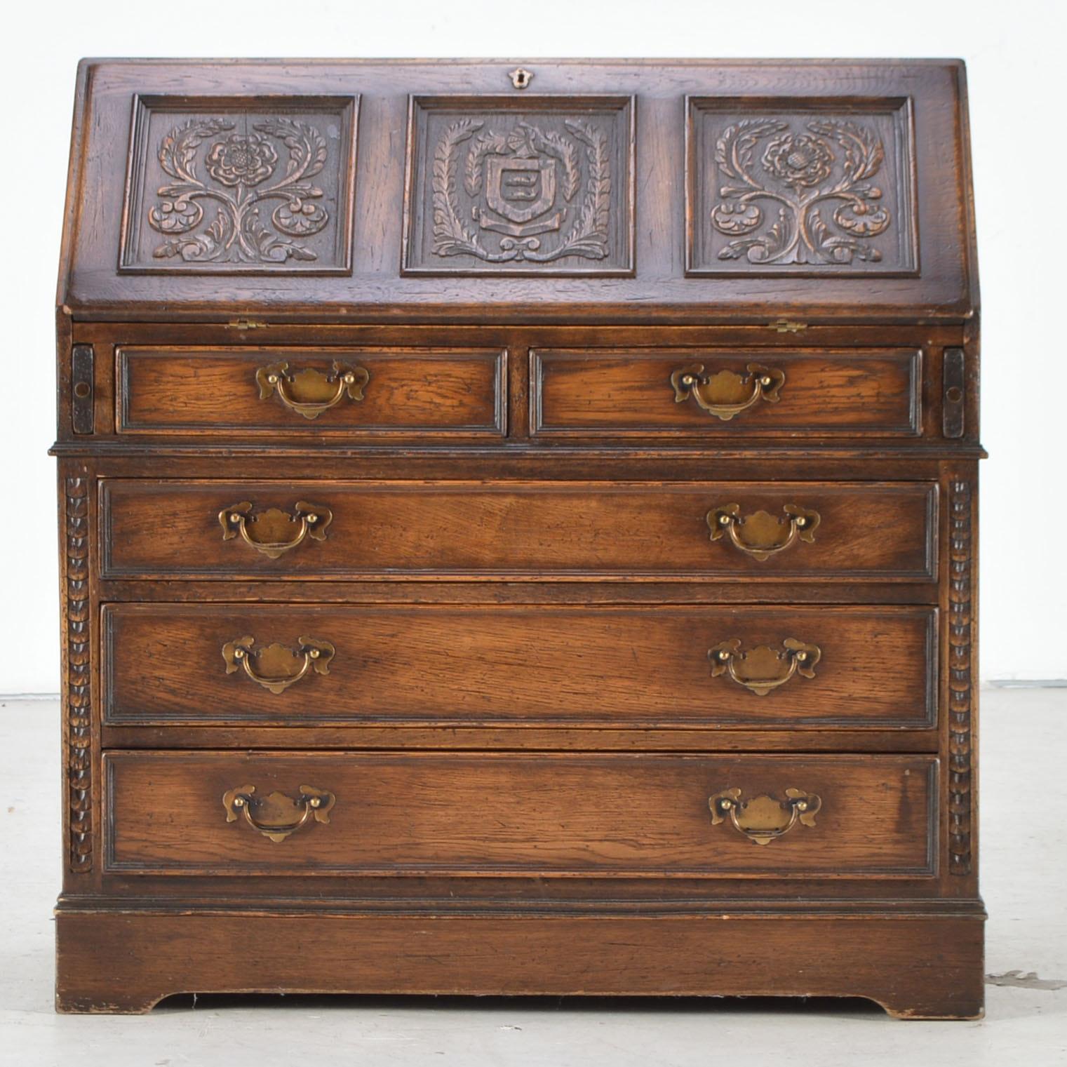 Carved Oak Secretary Desk With Dark Finish