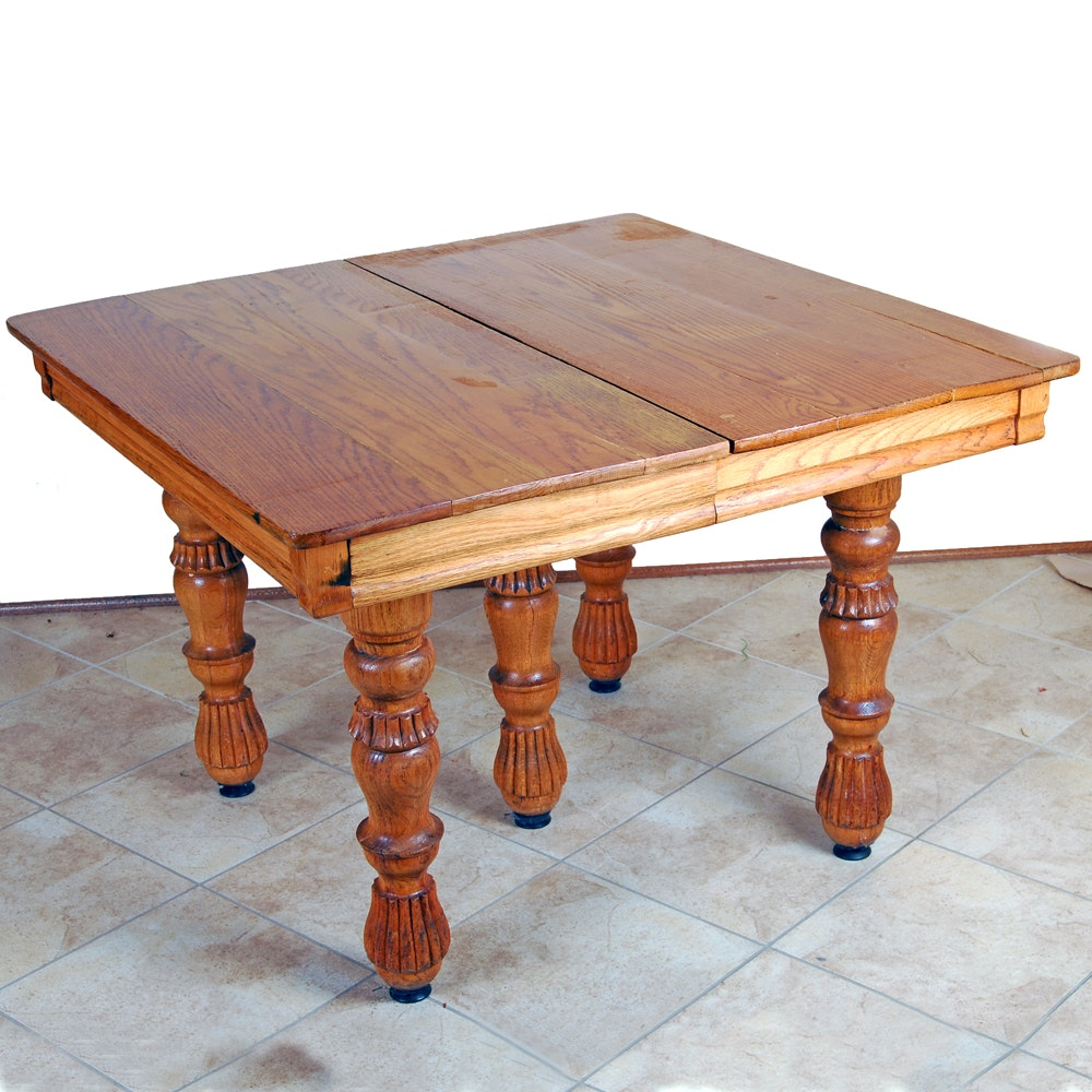 "Antique ""Watertown Slide"" Oak Plank Dining Table with Custom Leaves"