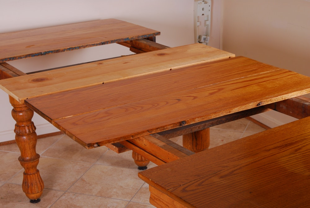 watertown slide oak plank dining table with custom leaves ebth