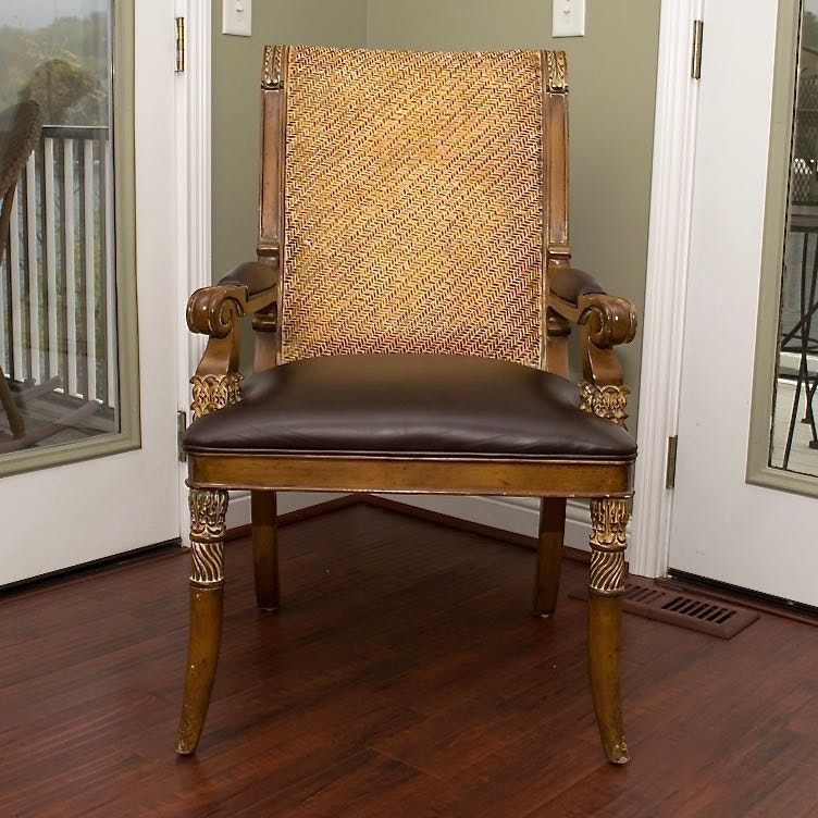 Arm Chair With Leather Upholstery