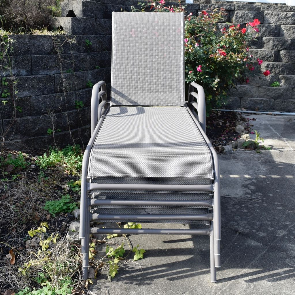 Four Outdoor Chaise Lounge Chairs
