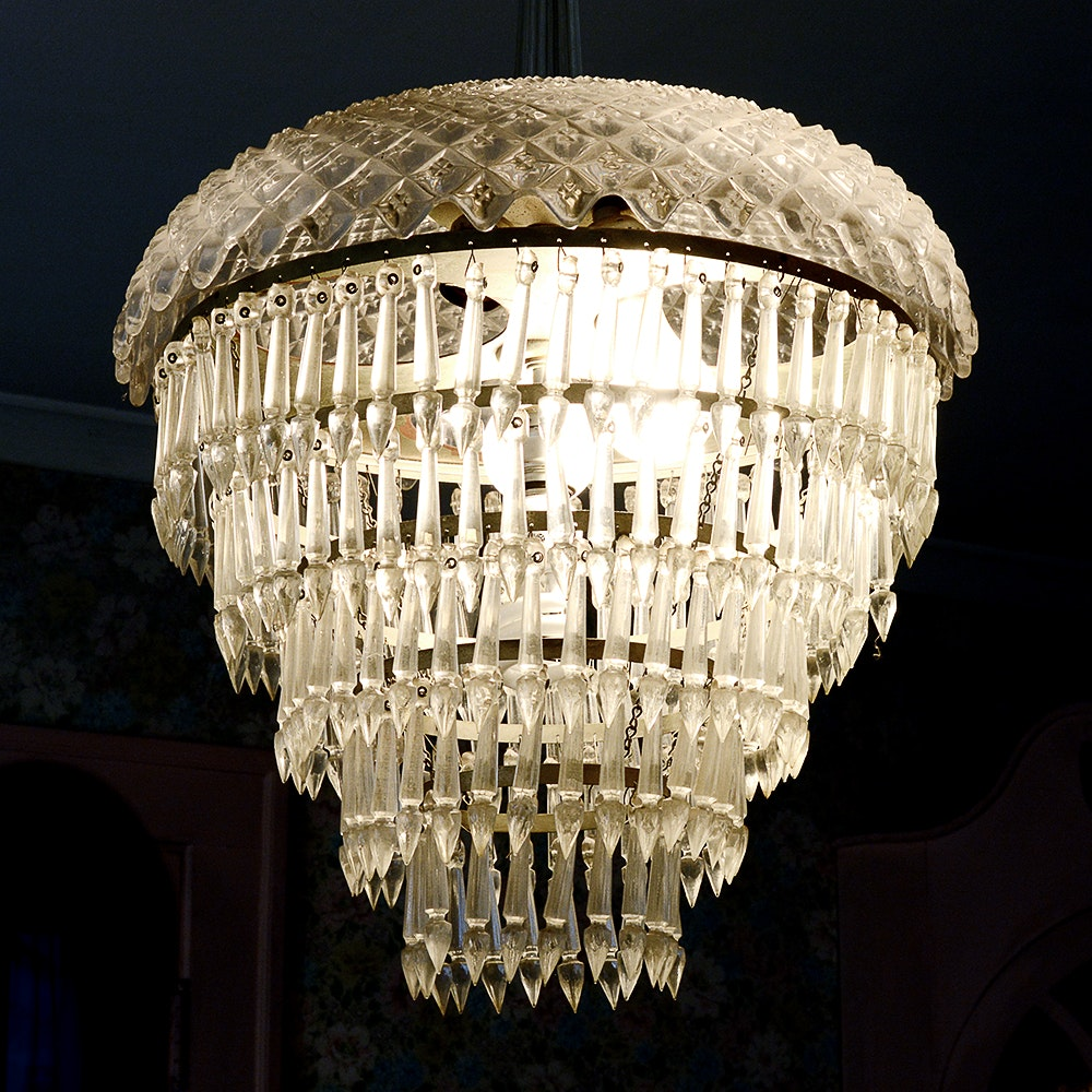 Cut Glass Chandelier with Prisms