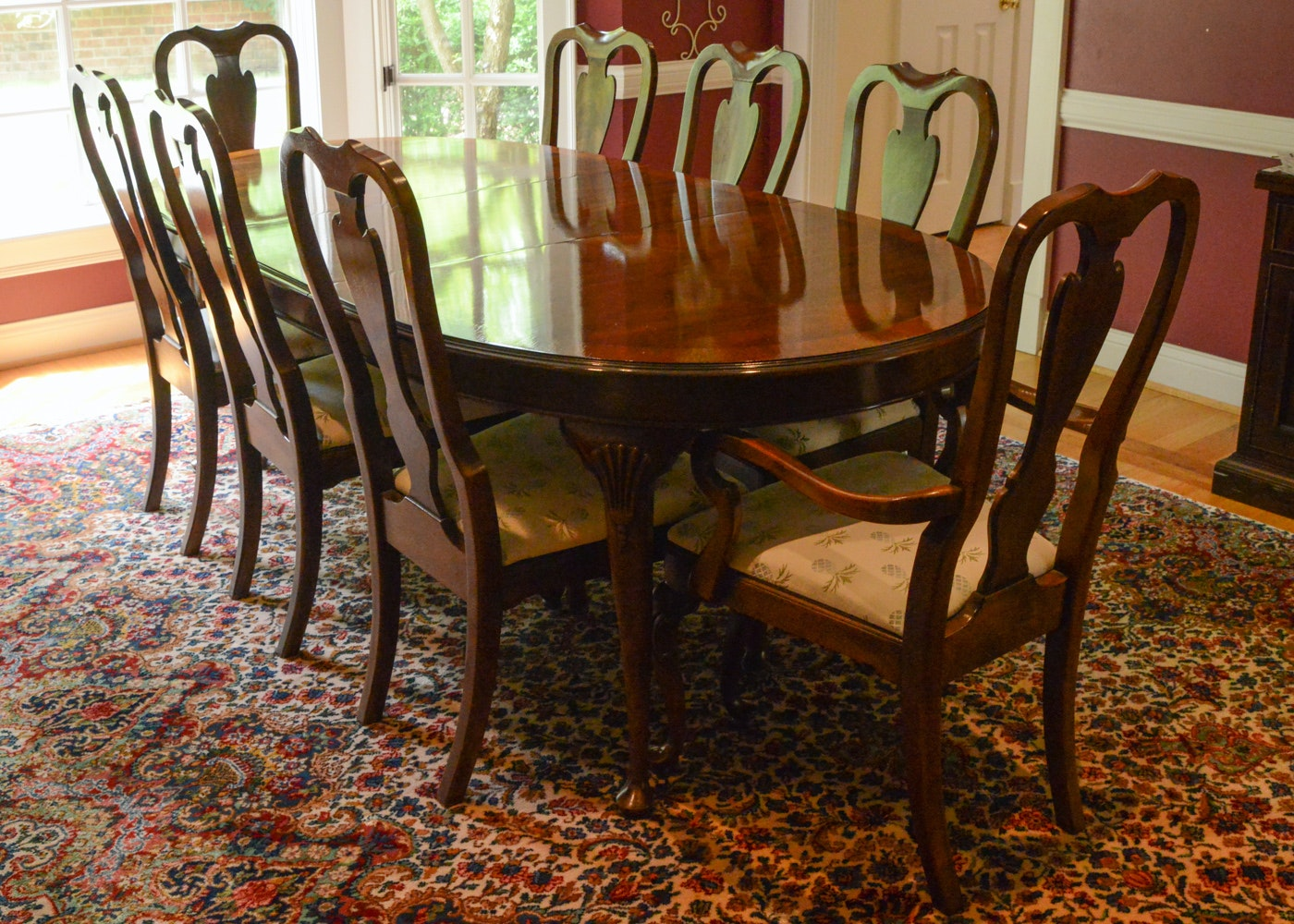 Drexel Heritage Mahogany Dining Room Table and Chairs
