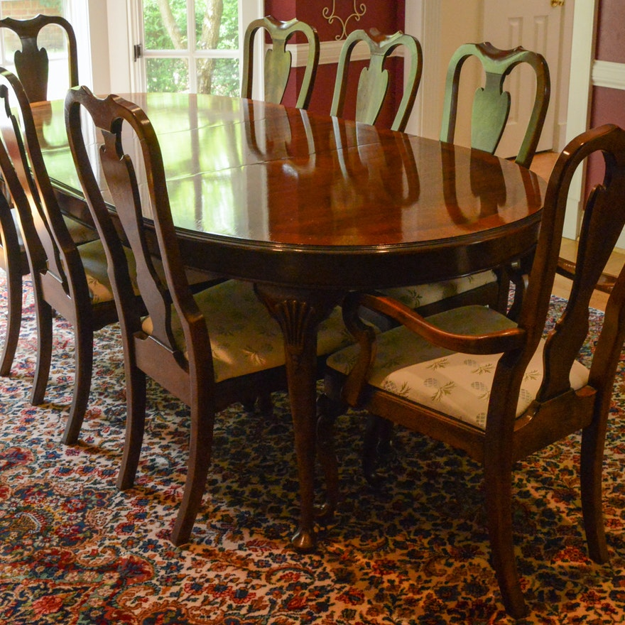 Drexel Heritage Mahogany Dining Room Table And Chairs Ebth