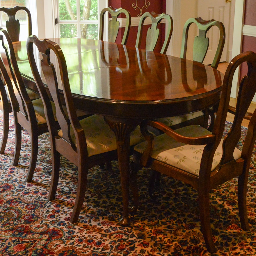 Drexel Heritage Dining Room: Drexel Heritage Mahogany Dining Room Table And Chairs