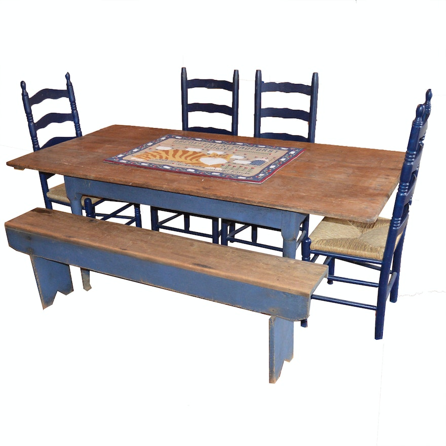 Cool Primitive Style Dining Table Bench And Four Ladder Back Chairs Ibusinesslaw Wood Chair Design Ideas Ibusinesslaworg