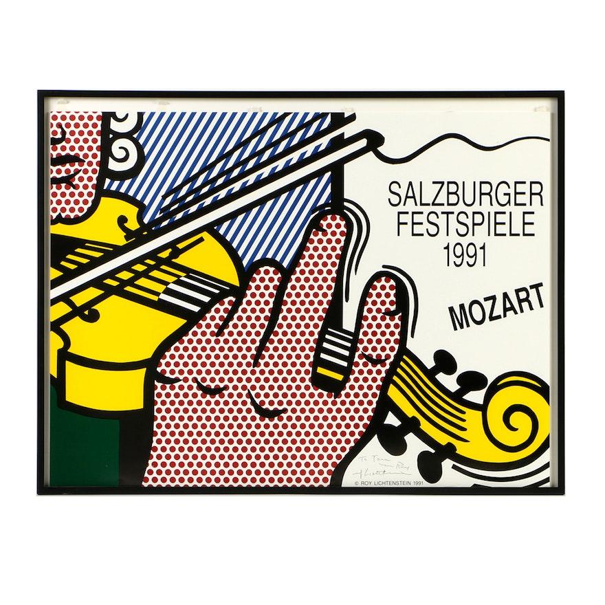 Signed Roy Lichtenstein Serigraph Poster for 1991 Salzburger Festspiele