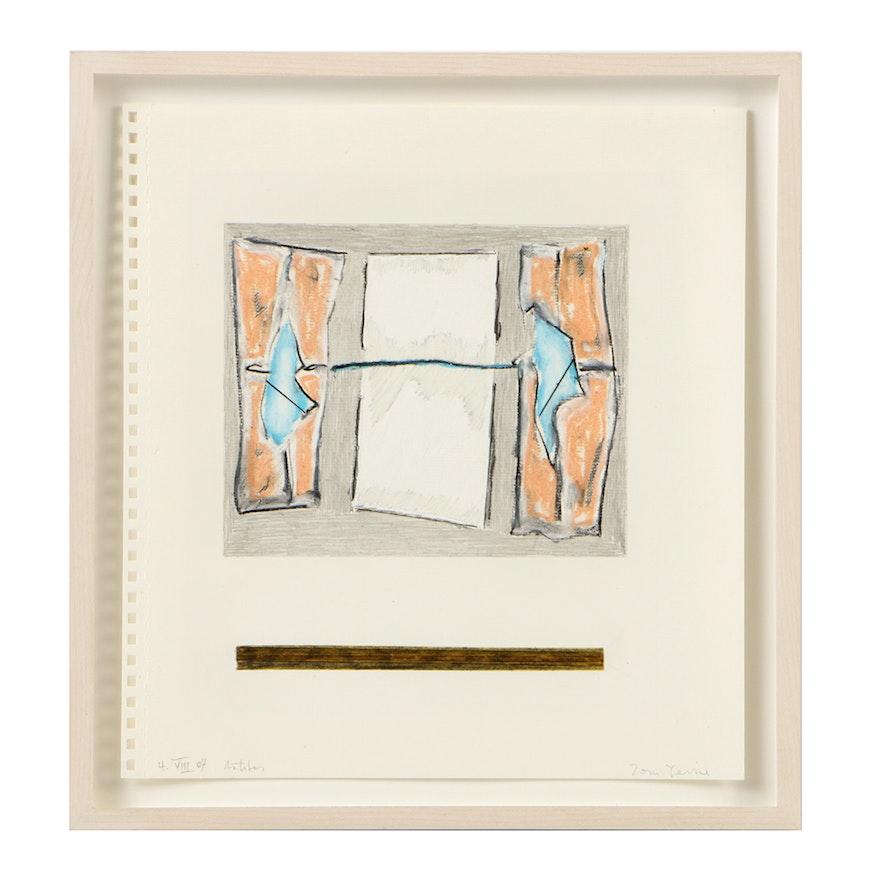 "Tom Levine Mixed Media Sketchbook Drawing on Paper ""4.VIII.07"""