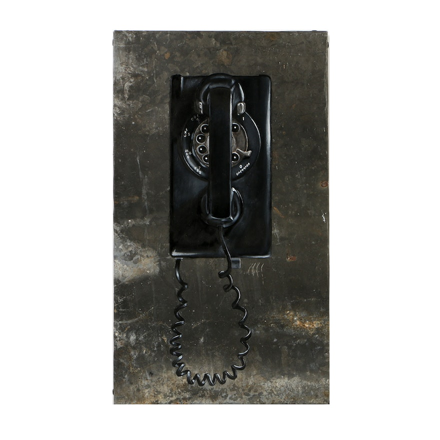 """Michael Fitts Oil Painting on Found Metal Sheet """"Wall Phone"""""""