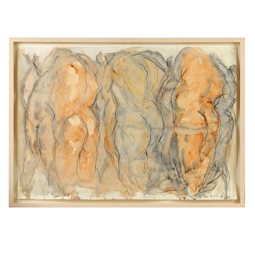 Jane Rosen Abstract Watercolor and Charcoal on Paper