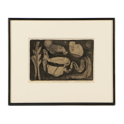 "Louise Nevelson Limited Edition Etching on Paper ""Ancient Landscape"""