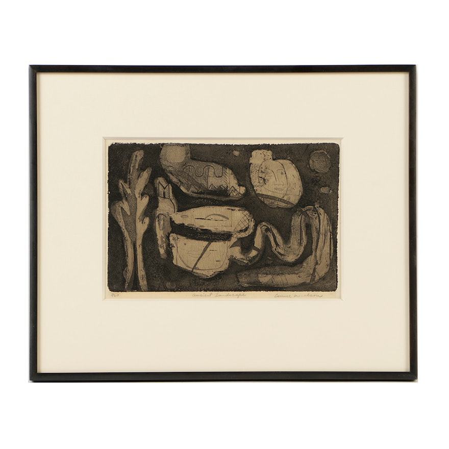 """Louise Nevelson Limited Edition Etching on Paper """"Ancient Landscape"""""""