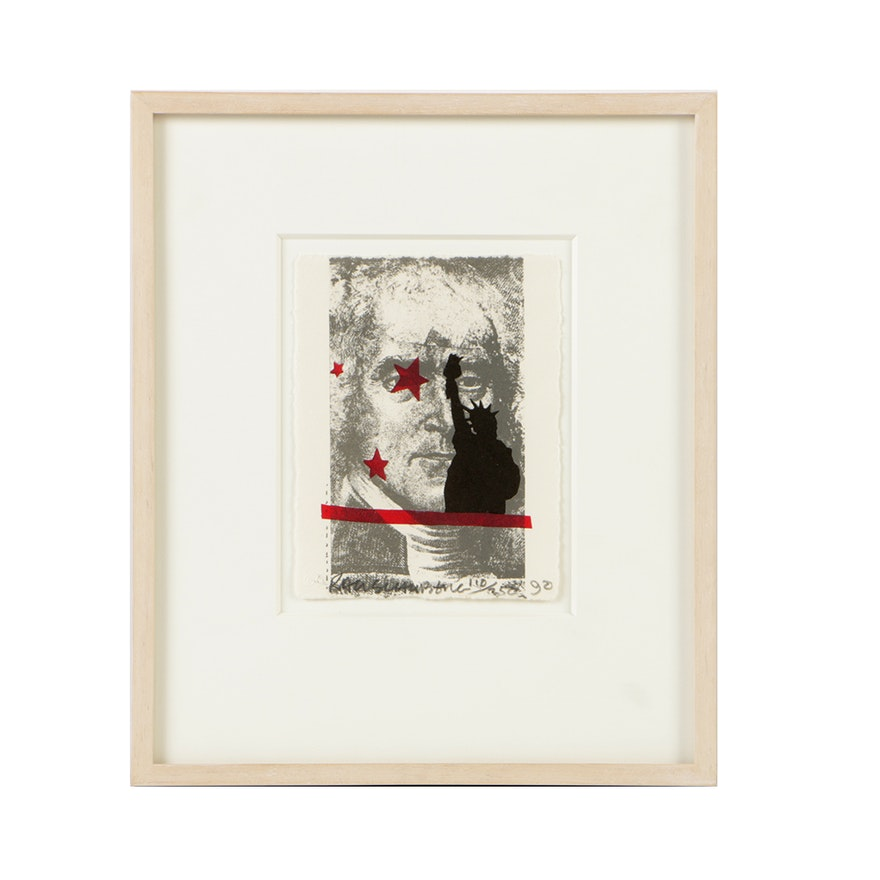 """Robert Rauschenberg Limited Edition Lithograph on Paper """"Speckled"""""""