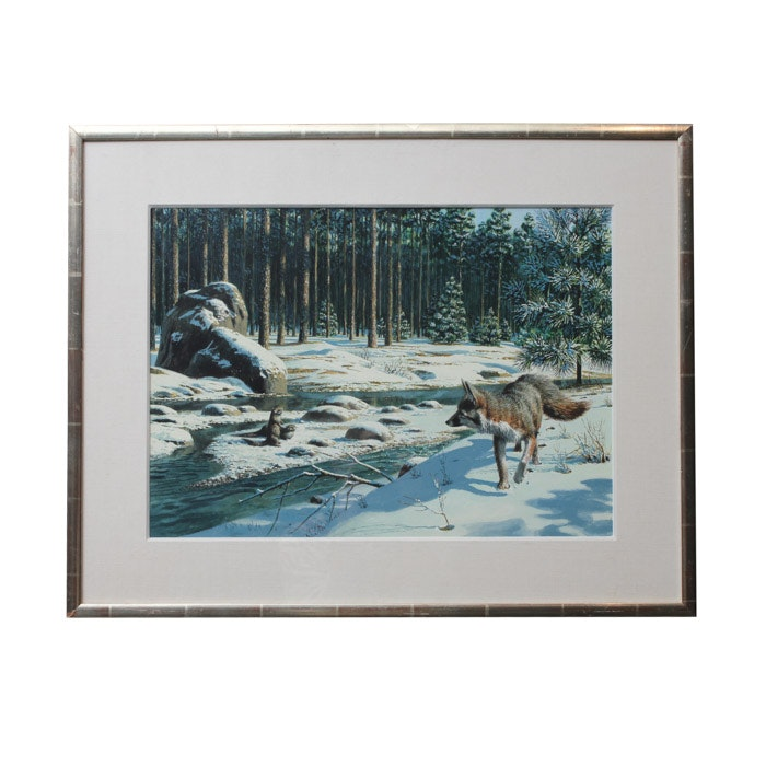"""1959 Stan Galli Painting """"Fox and Otters"""" for Weyerhaeuser Advertising"""