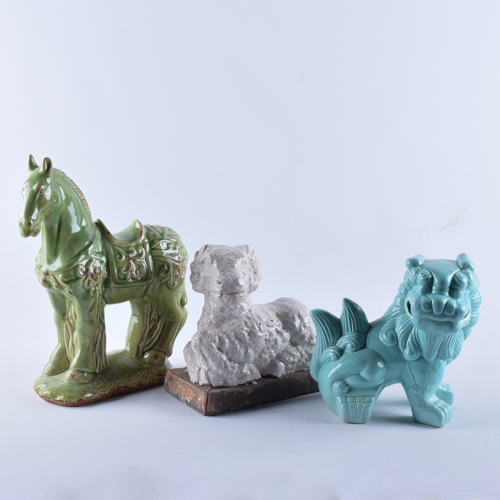 Collection of Ceramic Animal Statuettes