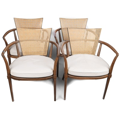 Mid Century Modern Caned Armchairs in the Style of Bert England
