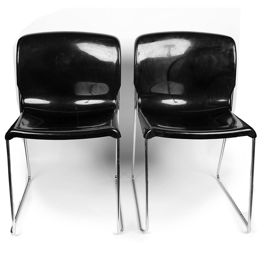 Mid-Century Plastic and Chrome Office Chairs