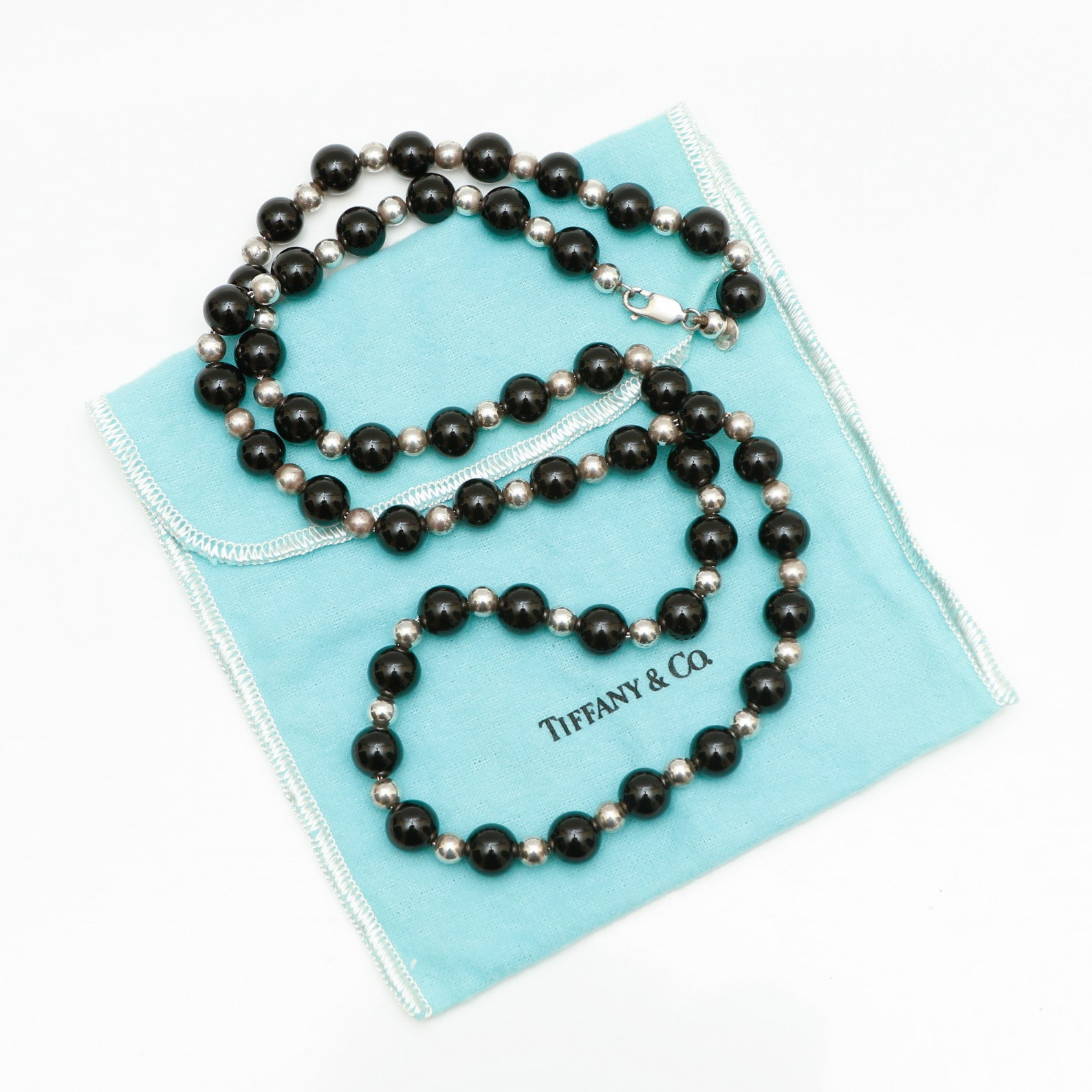 Tiffany & Co. Sterling Silver Onyx Bead Necklace