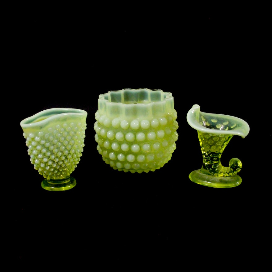 Collection Of Yellow Hobnail Opalescent Vaseline Glass Vases Ebth