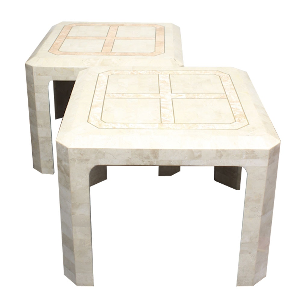 Maitland Smith Tessellated Fossil Stone Side Tables ...