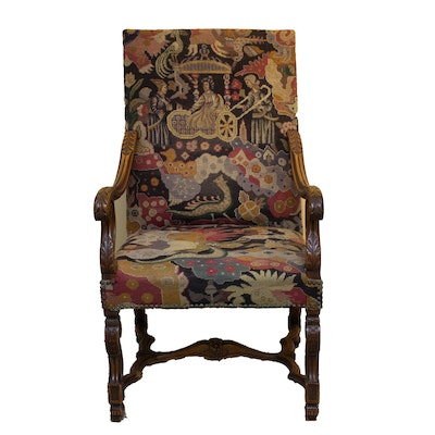 English Revival Carved Needlepoint Armchair - Vintage Chairs, Antique Chairs And Retro Chairs Auction In