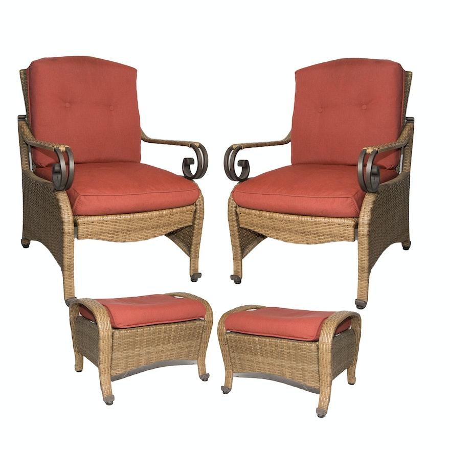 hampton bay sanopelo patio chairs and ottomans ebth. Black Bedroom Furniture Sets. Home Design Ideas