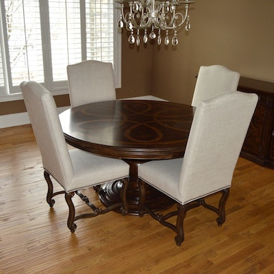 Modern Style Dining Set With Glass Top Table And Italian