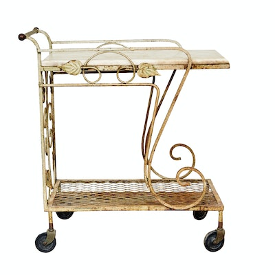 Wrought Iron Bakers Rack Hutch Top With Bronze Painted