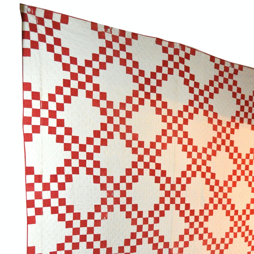 Vintage Red and White Checkered Quilt : EBTH : red and white checkered quilt - Adamdwight.com