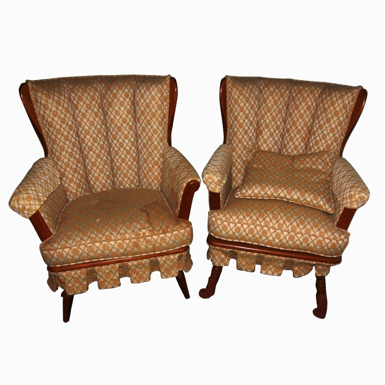 Vintage Floral Upholstered Wing Chairs