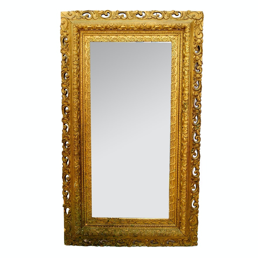 Large Wall Mirror with Ornate Gilded Frame : EBTH