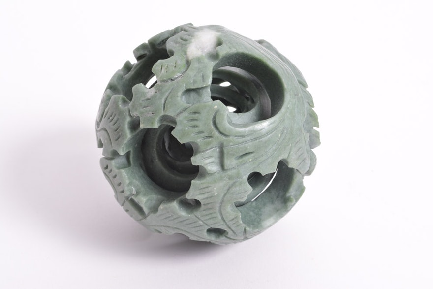 Green Stone Chinese Puzzle Ball Ebth
