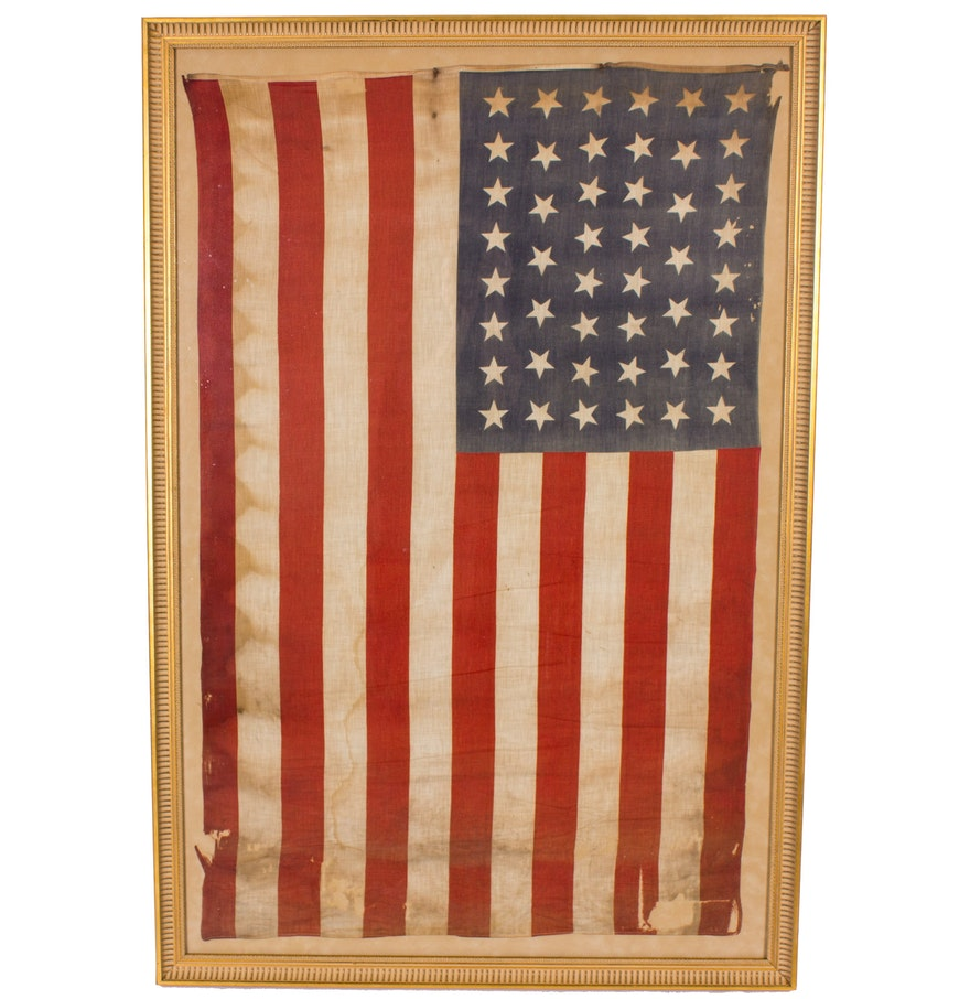 Framed Antique 46 Star American Flag Ebth