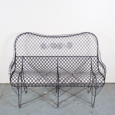 antique wire garden cemetery bench