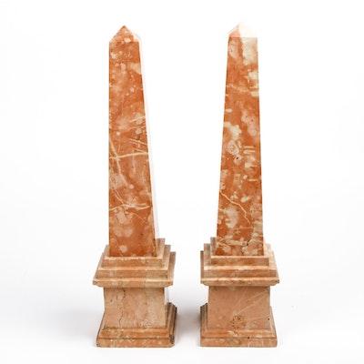 Pair of Sienna Pink Marble Obelisks