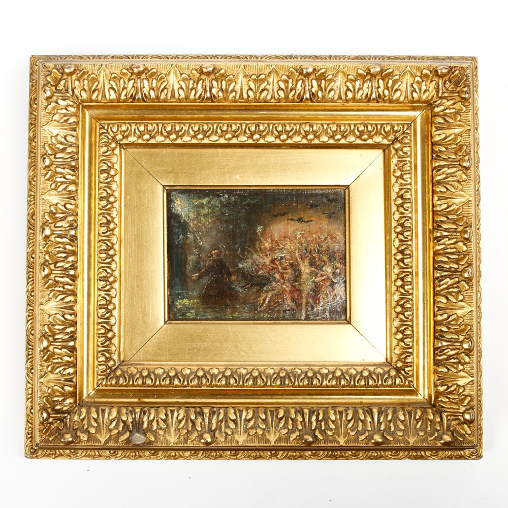 Antique Baroque Gold Leaf Frame with an Oil Painting