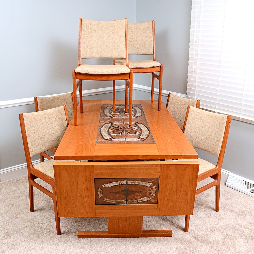 Mid Century Modern Teak Drop Leaf Dining Table Ebth