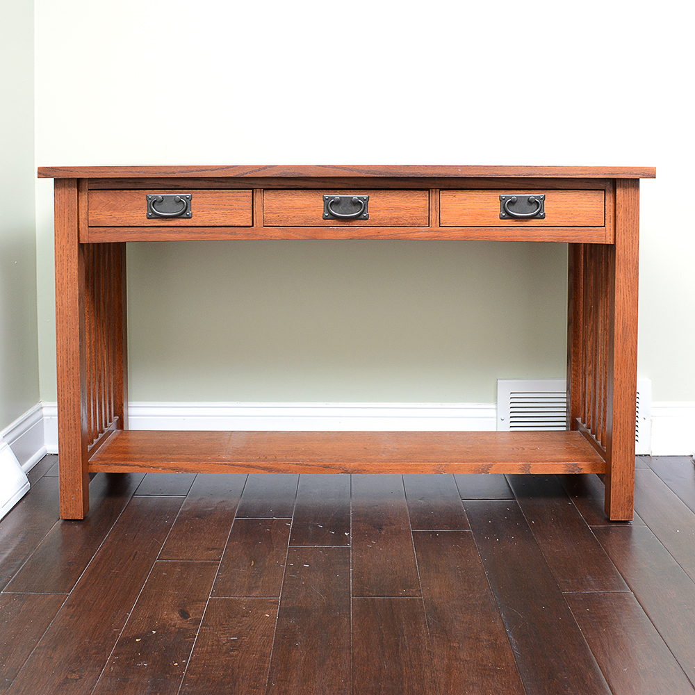 Oak Kimball Mission Style Sofa Table