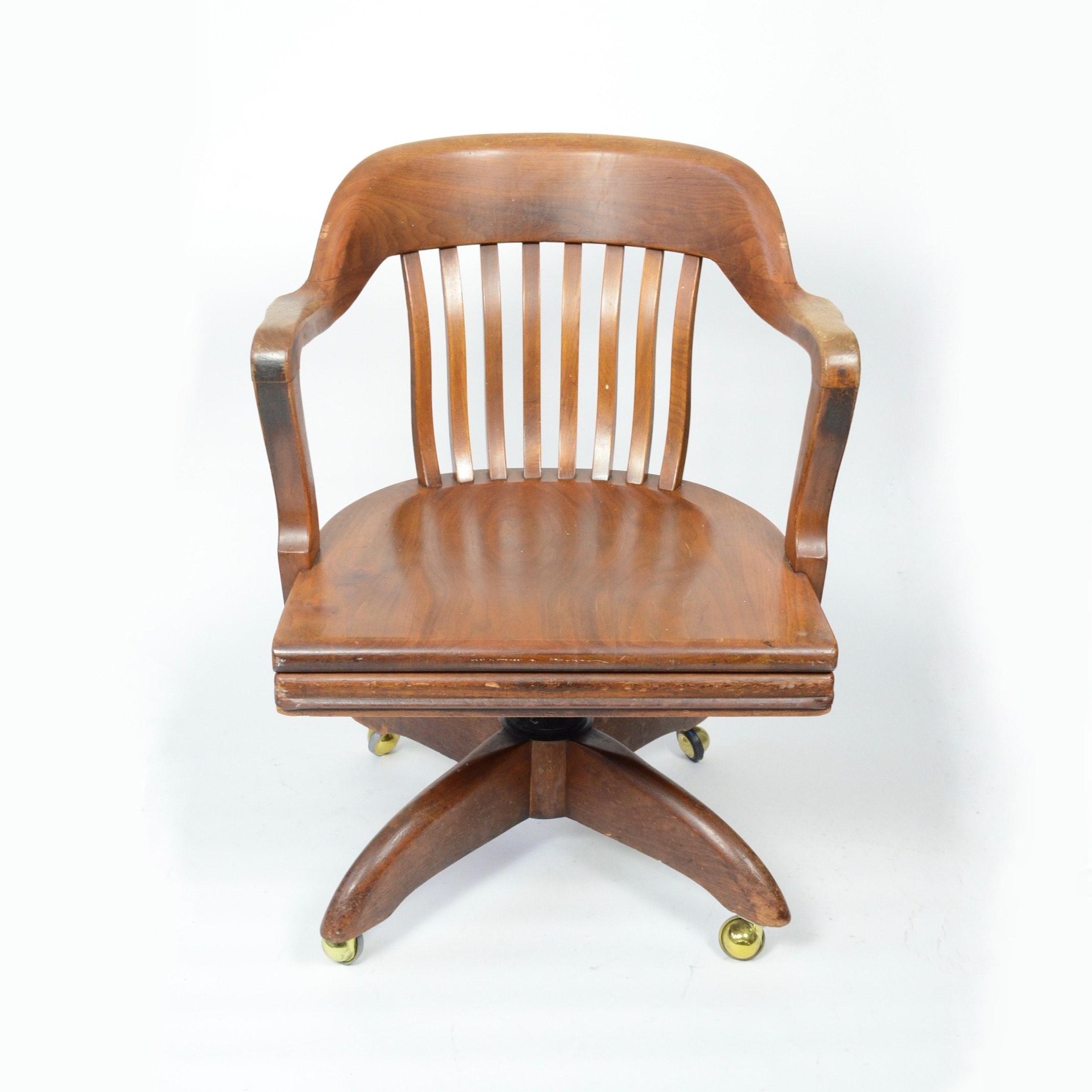 vintage walnut chair by wh gunlocke