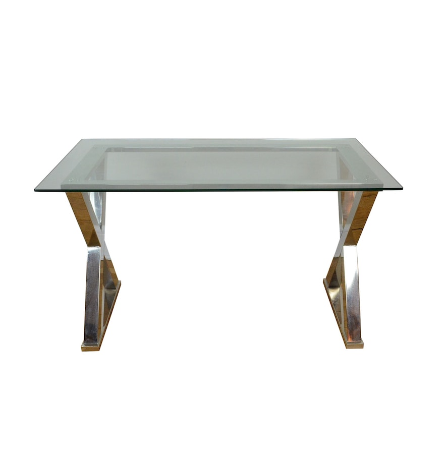 modernist style chrome x base dining table with glass top ebth. Black Bedroom Furniture Sets. Home Design Ideas