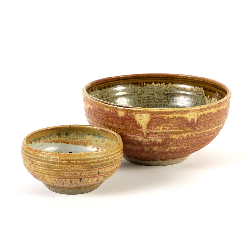 Pair of Karen Karnes Hand Thrown Stoneware Pottery Bowls