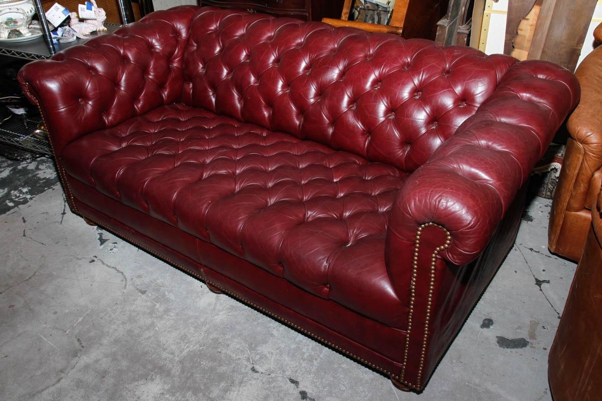 Vintage Burgundy Leather Chesterfield Sofa Ebth