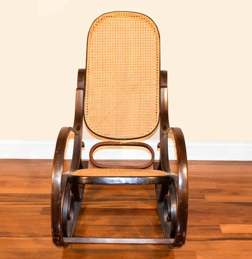 Vintage bentwood cane back rocking chair ebth - Automatic rocking chair for adults ...