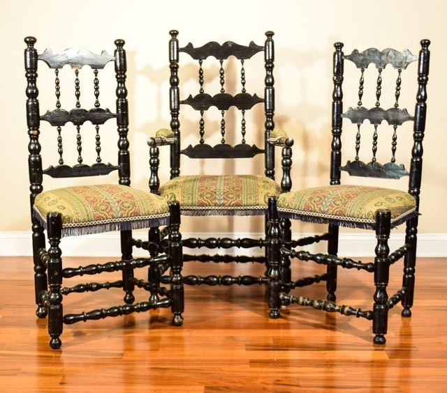 Vintage William And Mary Style Dining Chairs Ebth