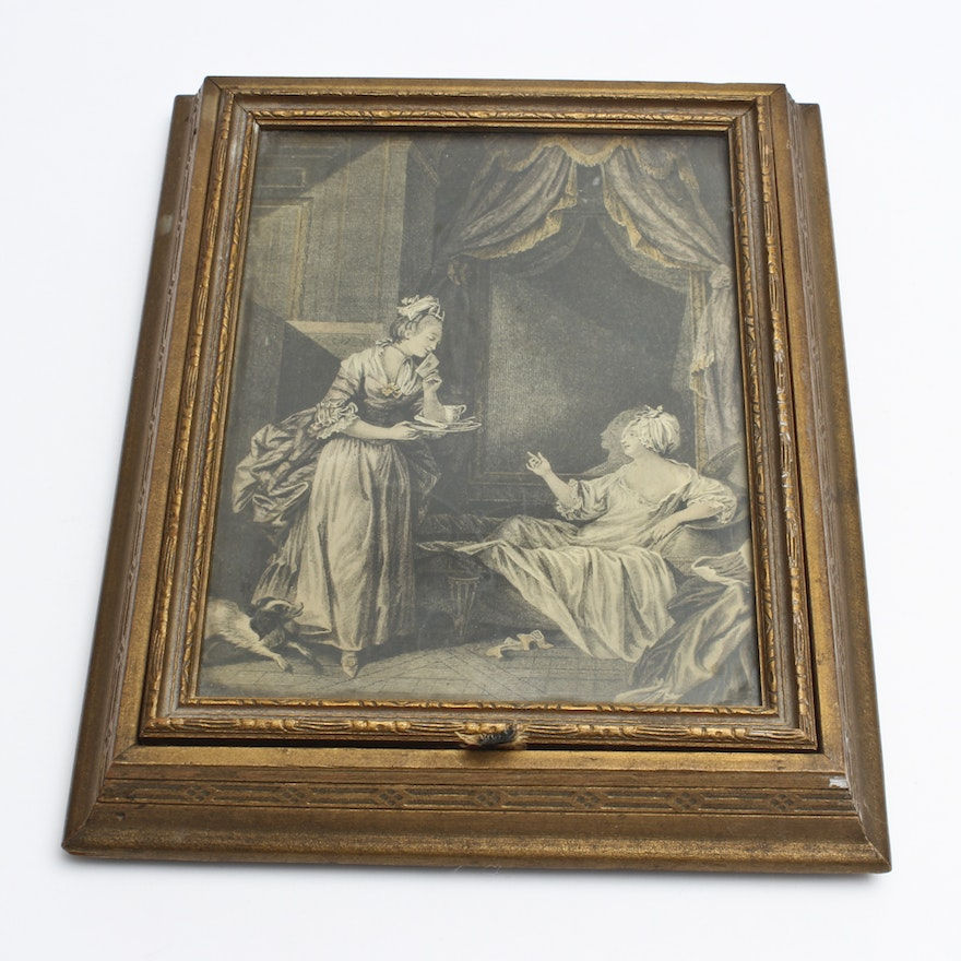 Victorian Picture In Faux Frame With Hidden Compartment Ebth