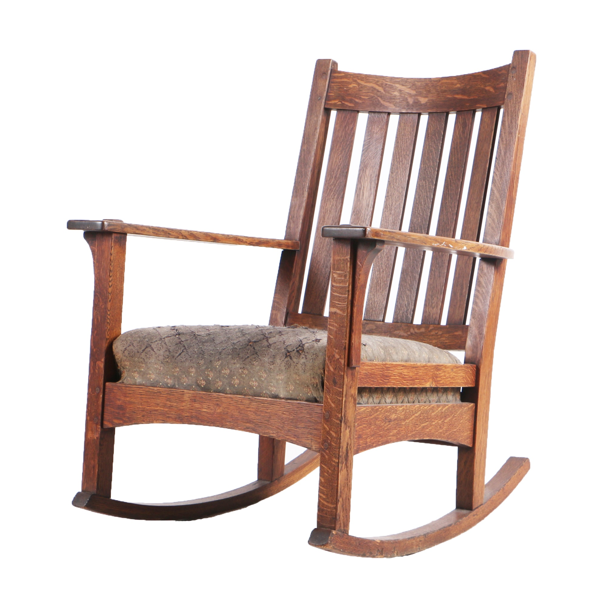 Circa 1912 to 1920 Arts and Crafts Rocking Chair by L. & J.G. Stickley