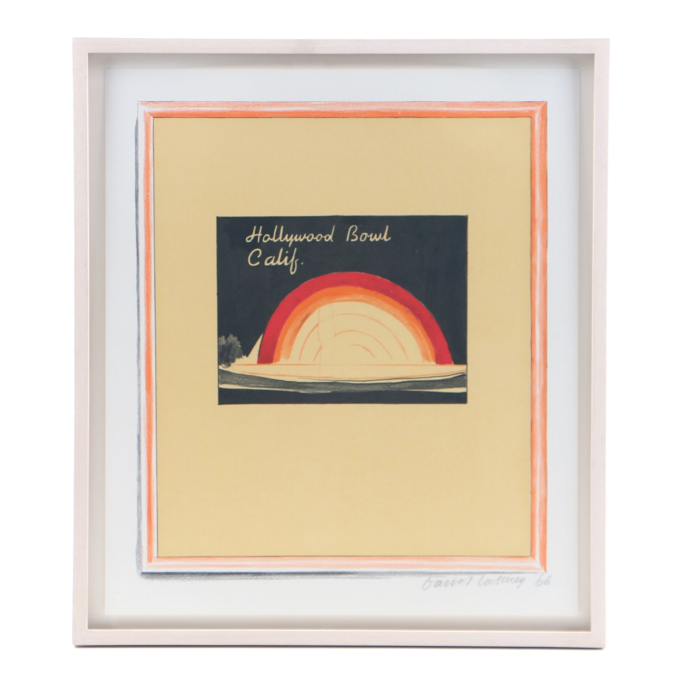 "David Hockney Serigraph on Paper  ""Hollywood Bowl Calif."""