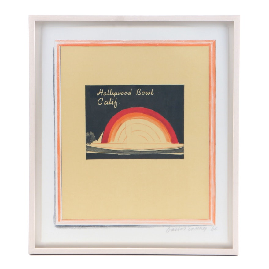 "David Hockney Serigraph on Paper  ""Hollywood Bowl Calif."""