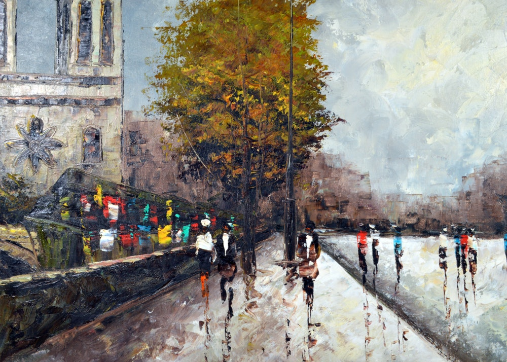 Mary Botto Oil Painting Of A Parisian Street Scene Ebth
