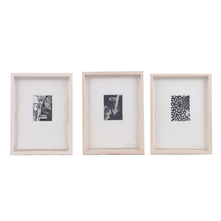 "Jasper Johns Signed Limited Edition Etchings with Aquatint ""Untitled (Red, Yellow, Blue)"""